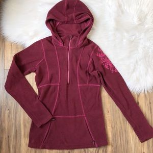 Athleta Half-Zip Floral Burgundy Fleece Hoodie